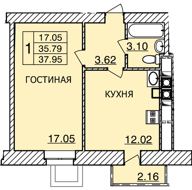 Киевское шоссе, д. 55, кв.417