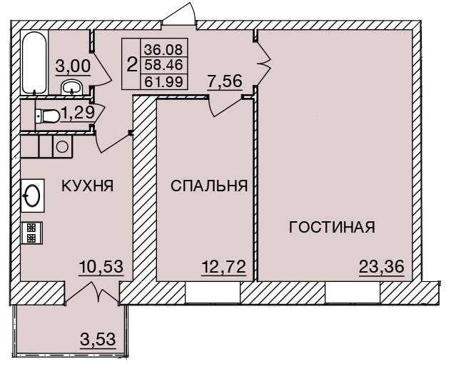 Киевское шоссе, д. 58, кв.52