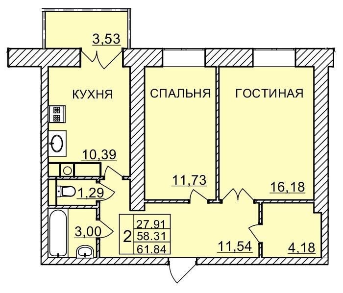 Киевское шоссе, д. 58, кв.1129
